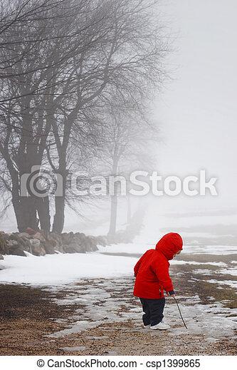 tarde, Inverno, passeio - csp1399865