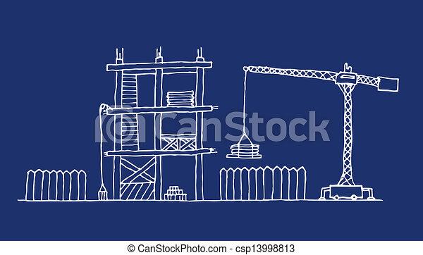 Vector Clip Art Of Construction Site Cartoon Blueprint