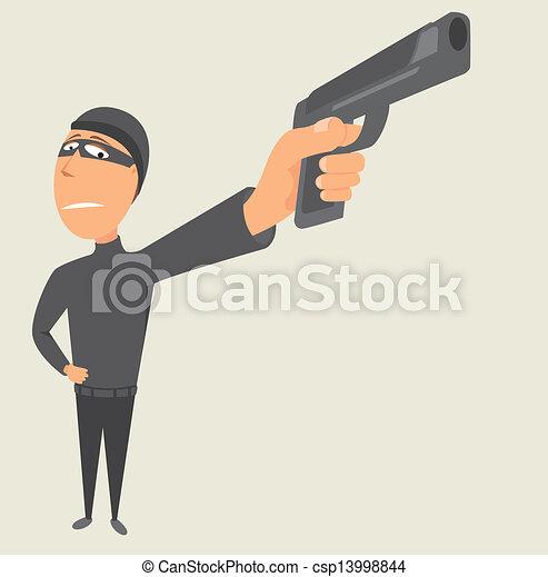 EPS Vector of Criminal pointing a gun / Thief csp13998844 ...