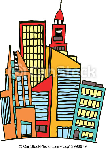 Vectors Illustration of Colorful downtown / Vector city ...
