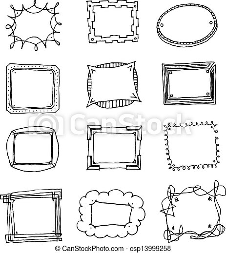 hand drawn vector picture frame set csp13999258
