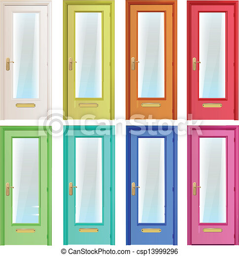 EPS Vectors of Collection of colorful doors Vector design