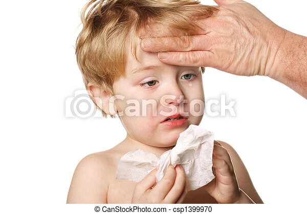 Sick child wiping his nose - csp1399970
