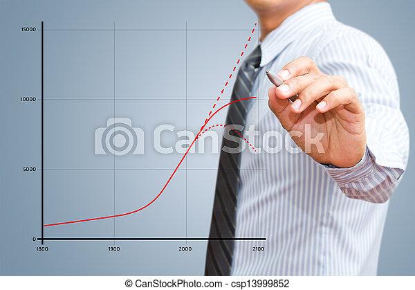 usinessman drawing growth chart - csp13999852
