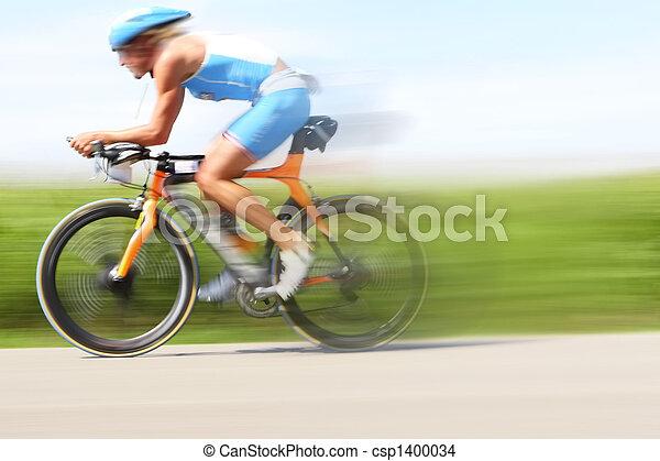 Racing bicycle, motion blur - csp1400034