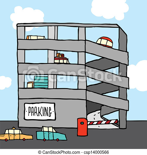 Cartoon multi-level parking garage - csp14000566