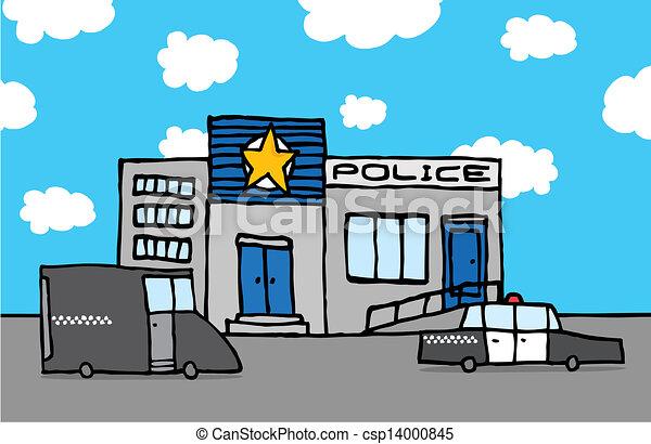 Polizeiwache clipart  EPS Vektor von station, polizei, karikatur - Cartoon, polizeiwache ...