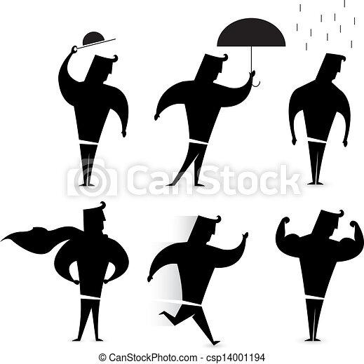 Eps Vectors Of Gentleman Character Set Hero Silhouette Actions Csp14001194 Search Clip Art