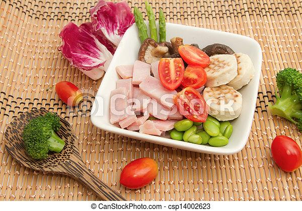 ham salad and mix vegetable - csp14002623
