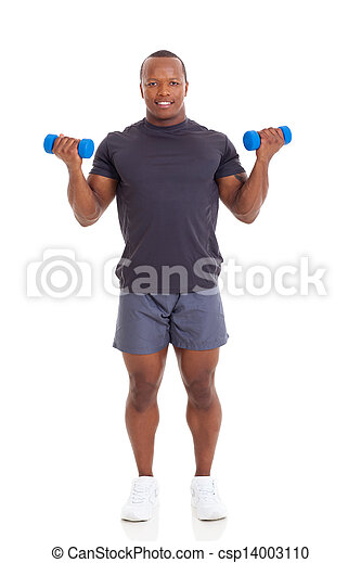 african muscular man lifting dumbbells - csp14003110