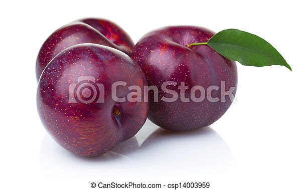 Three ripe purple plum fruits with green leaves isolated - csp14003959