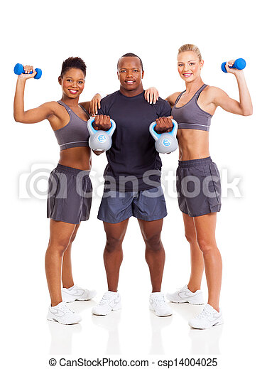 group of young adult exercising - csp14004025