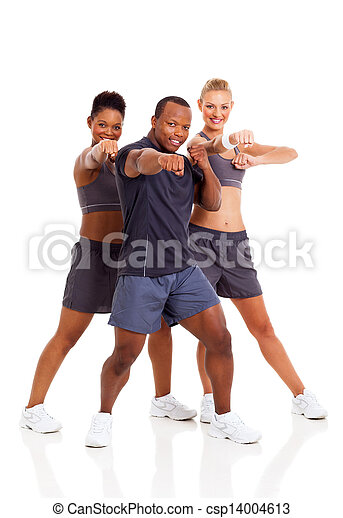 group of fit young adult working out - csp14004613