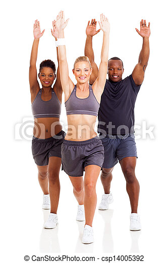 group of fitness people exercising - csp14005392
