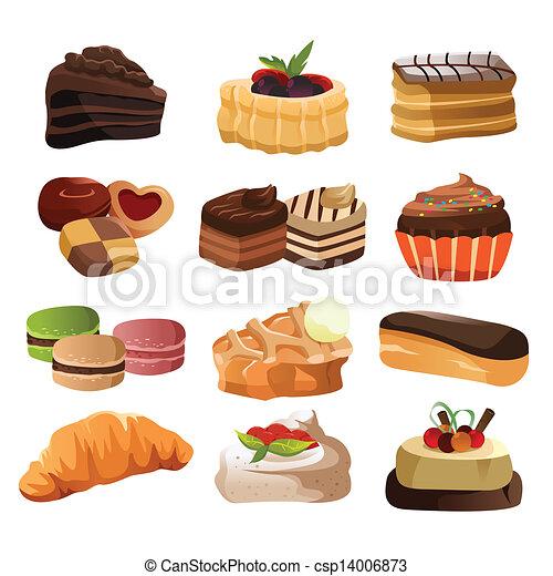 Illustrations vectoris es de patisserie ic nes a - Dessert dessin ...