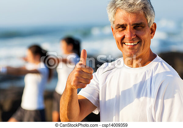 mature man giving thumb up - csp14009359