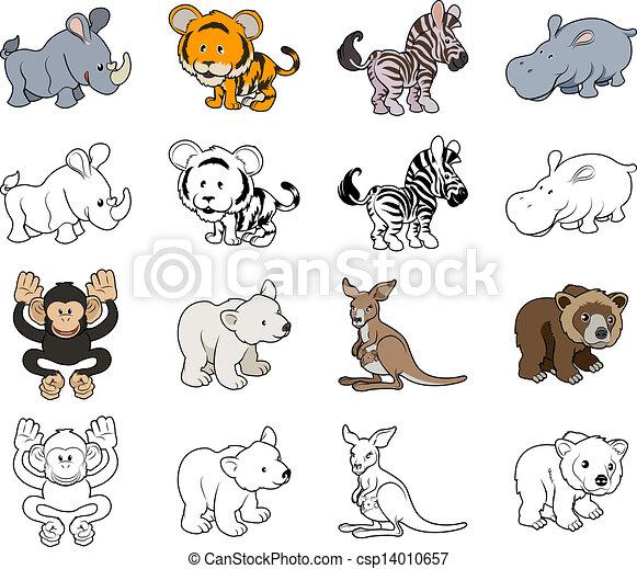 Cartoon Wild Animal Illustrations - csp14010657