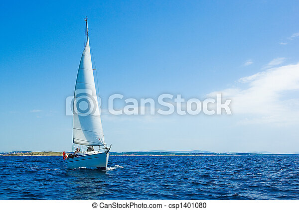 Sailing boat on blue sea - csp1401080