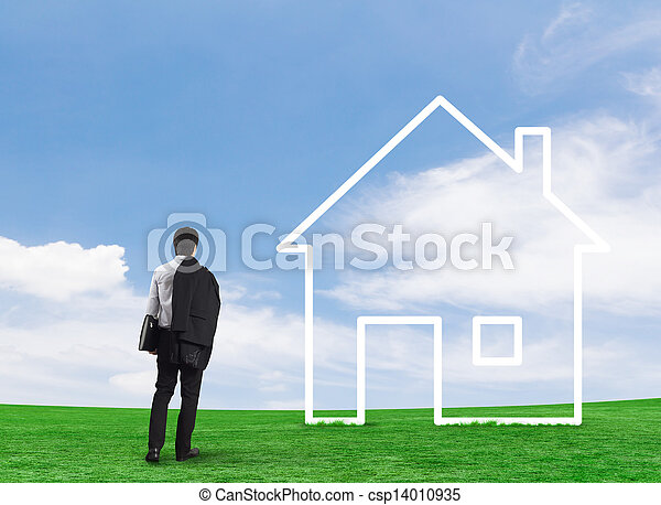 Man drawing a house in a field - csp14010935
