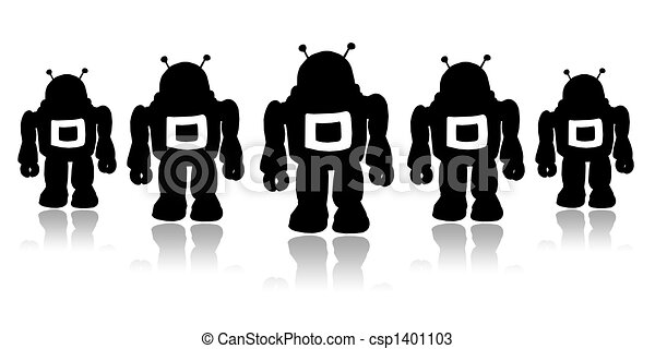 Drawings of Robots - Silhouettes team black robots on a ...