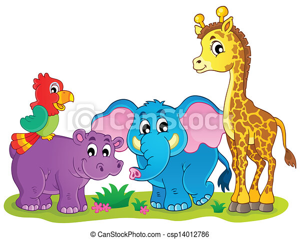 Cute African animals theme image 4 - csp14012786