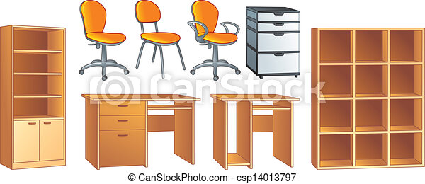 EPS Vectors of Office furniture vector objects - Office furniture set -... csp14013797 - Search ...