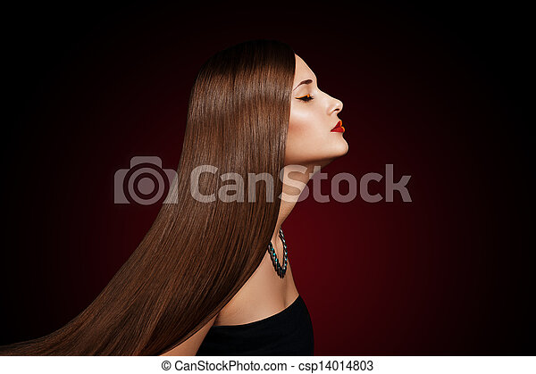 closeup portrait of a beautiful young woman with elegant long shiny hair - csp14014803