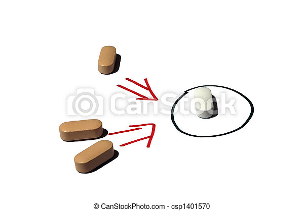 Pharmaceutics vitamin pill, two brown groups ready to attack  white pill - csp1401570