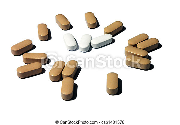 Pharmaceutics vitamin pill, brown pills surrounded by white group  - csp1401576