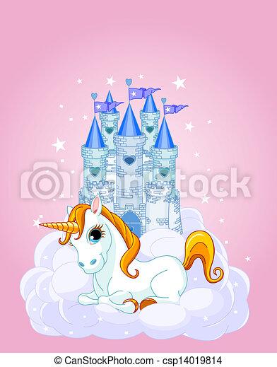 Sky Castle and unicorn - csp14019814