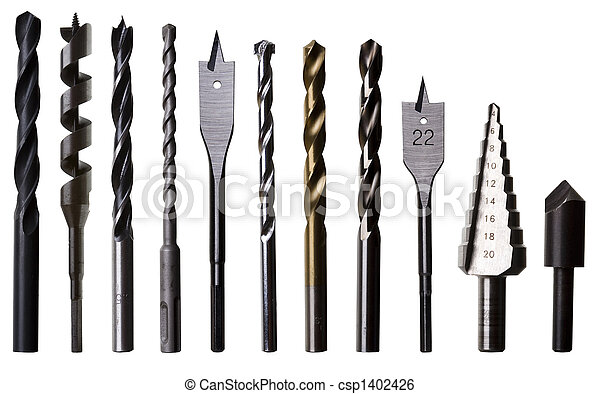 Most common types of woodwork, metalwork and masonry drill bits, isolated on white. - csp1402426