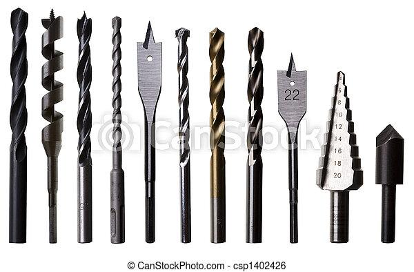 位元, 剪, 木製品, 被隔离, 大多數, 普通, 操練, 泥瓦工, 金屬制品, 路徑, 白色, 類型 - csp1402426