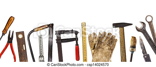 viejo, artesano, herramientas, aislado, Whi - csp14024570