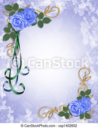 Stock Illustration Blue Roses Wedding invitation blue wedding invite clipart