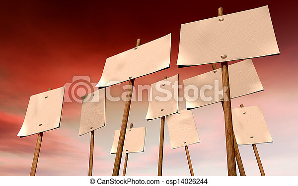 Blank Strikers Picket Plackards And Red Sky - csp14026244