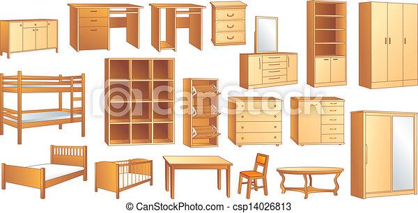 Vector clip art of wooden furniture set vector illust for Fabricacion de muebles de melamina pdf