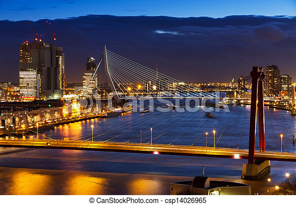 Rotterdam bridges twilight - csp14026965