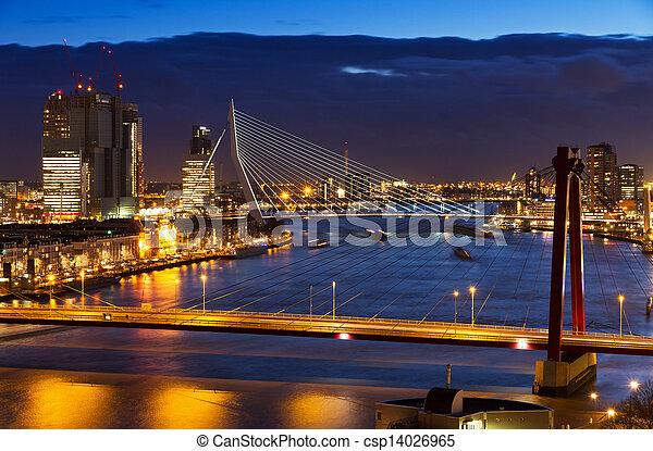 Rotterdam bridges twilight - csp14026965