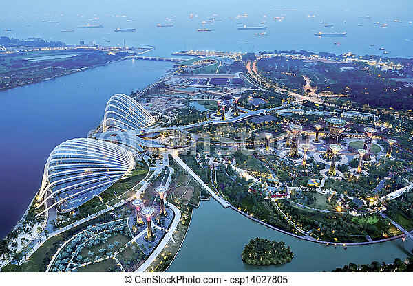 aerial view of marina bay - csp14027805