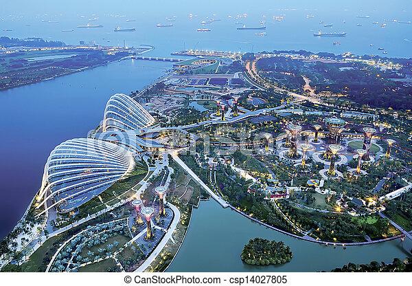 aerial view of marina bay - csp14027805
