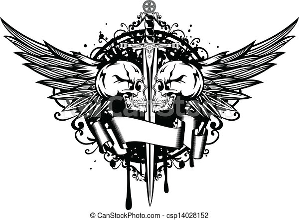 Sword With Wings Logo Two Skulls Wings And Sword