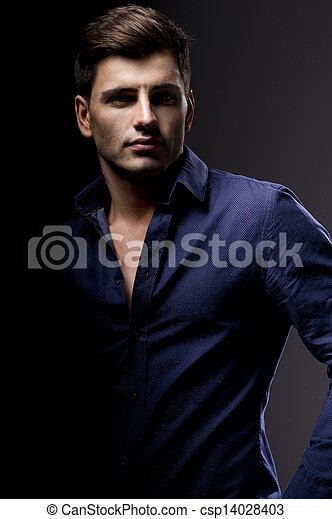 Elegant young handsome man. Studio fashion portrait. - csp14028403