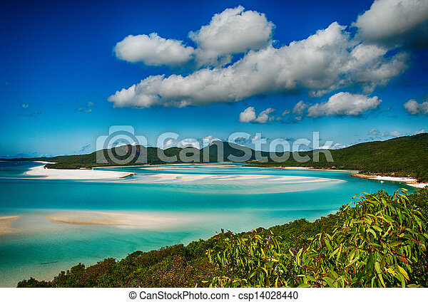 Whitehaven beach lagoon at national park queensland australia tropical coral sea world heritage. - csp14028440