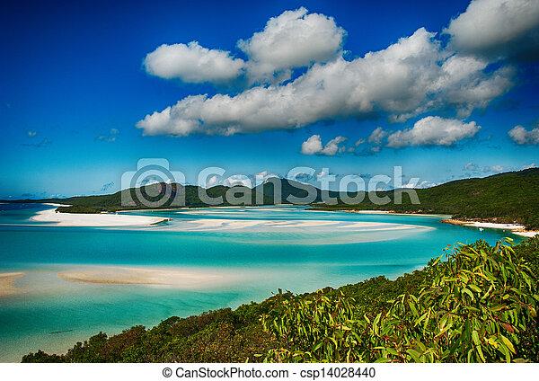 Whitehaven beach lagoon at national park queensland australia tropical coral sea world heritage. - csp14028440