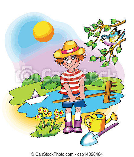 Clip Art Vector of Young farmer boy on fine sunny day csp14028464 ...
