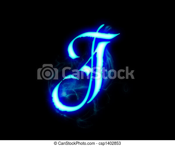 Drawings Of Blue Flame Magic Font Over Black Background
