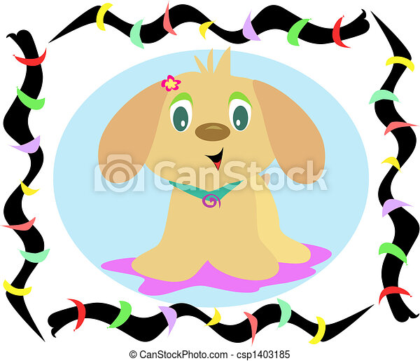 Clipart Vector of Rainbow Frame of Puppy Dog Vector - This ...