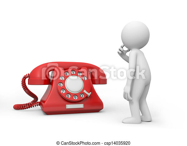 Clip Art of telephone - A 3d person thinking nearby a phone call ...