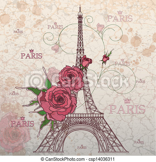 vector clip art of vintage vector illustration of eiffel eiffel tower clipart with flowers eiffel tower clipart images