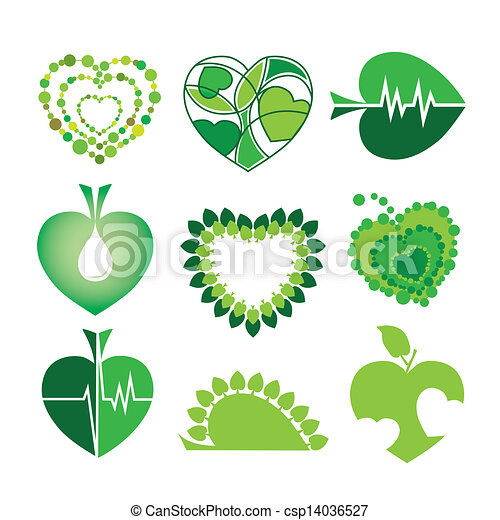 collection of vector logos health and the environment in the form of hearts and leaves - csp14036527
